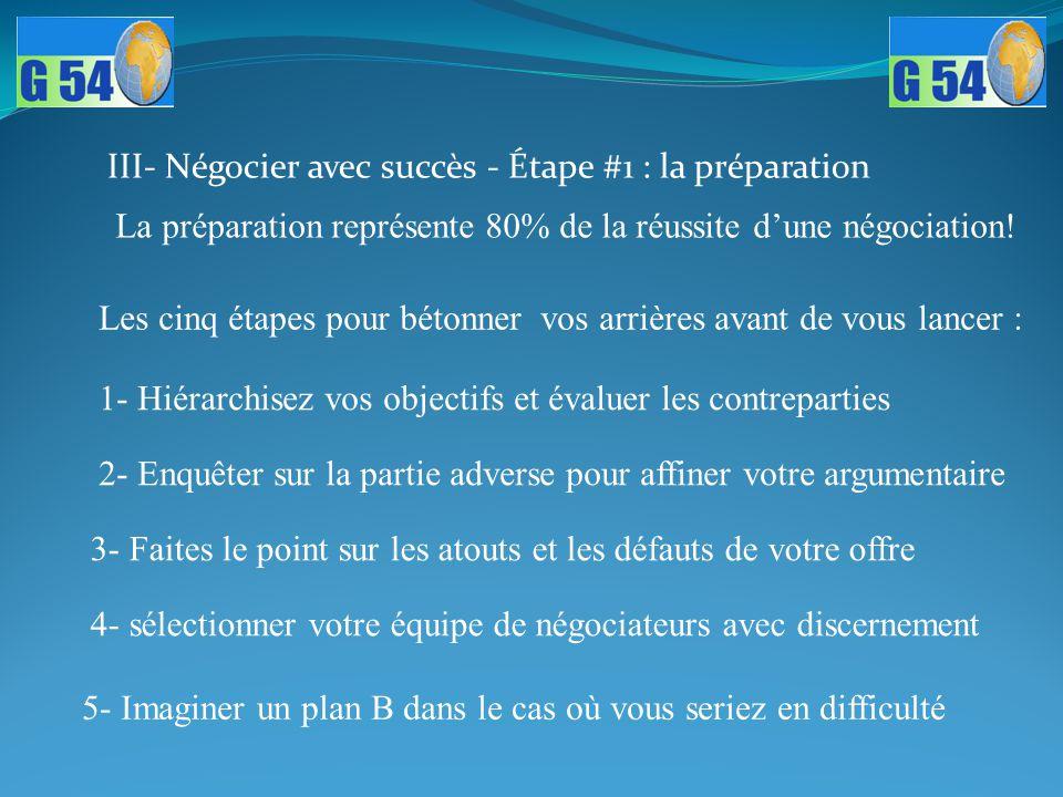 III- Négocier avec succès - Étape #1 : la préparation La préparation représente 80% de la réussite d'une négociation! 1- Hiérarchisez vos objectifs et