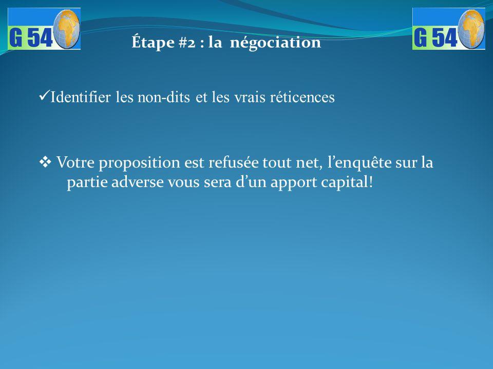 Étape #2 : la négociation Identifier les non-dits et les vrais réticences  Votre proposition est refusée tout net, l'enquête sur la partie adverse vo