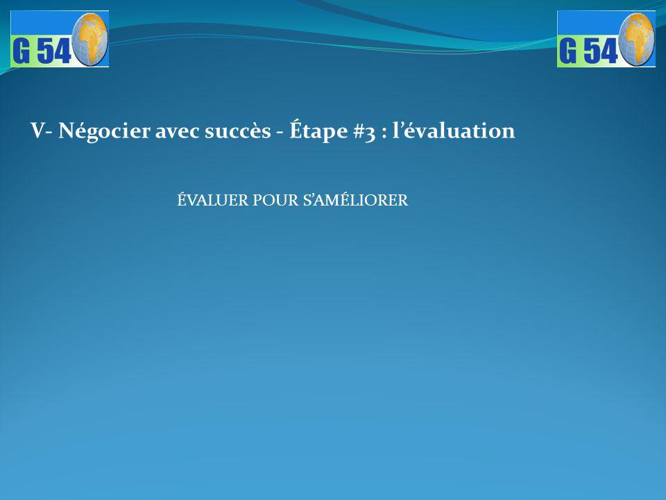 V- Négocier avec succès - Étape #3 : l'évaluation ÉVALUER POUR S'AMÉLIORER