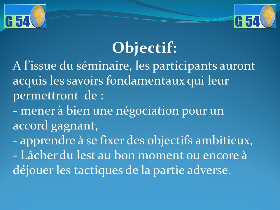 Objectif: A l'issue du séminaire, les participants auront acquis les savoirs fondamentaux qui leur permettront de : - mener à bien une négociation pou