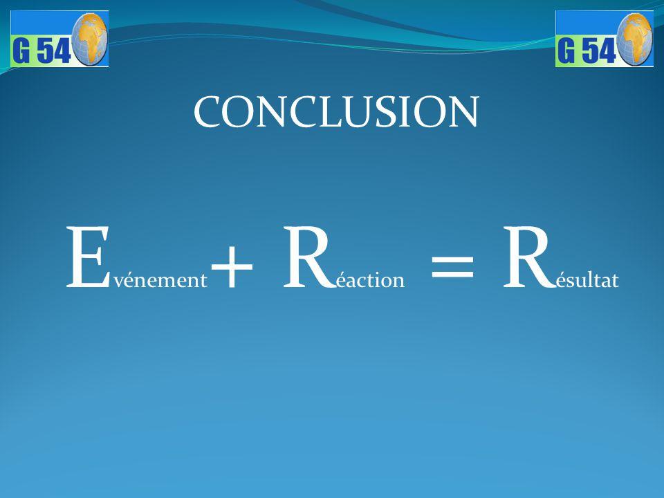 E vénement + R éaction = R ésultat CONCLUSION