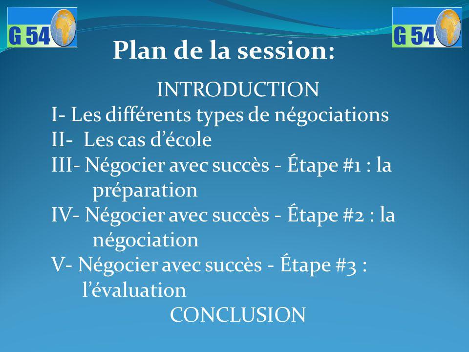 Plan de la session: INTRODUCTION I- Les différents types de négociations II- Les cas d'école III- Négocier avec succès - Étape #1 : la préparation IV-