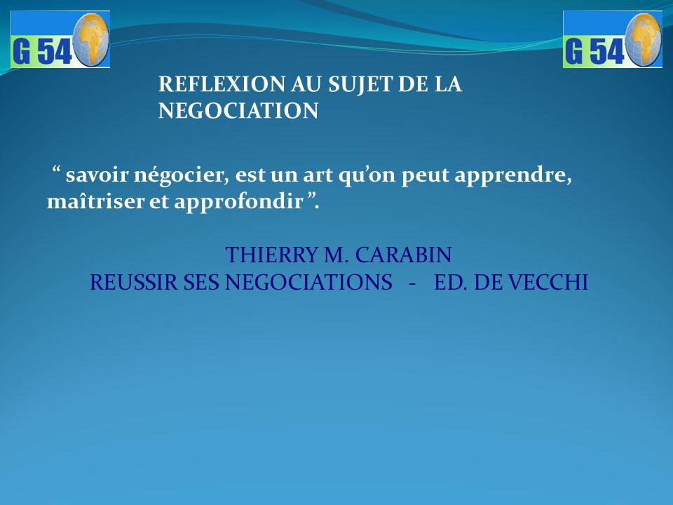 """"""" savoir négocier, est un art qu'on peut apprendre, maîtriser et approfondir """". THIERRY M. CARABIN REUSSIR SES NEGOCIATIONS - ED. DE VECCHI REFLEXION"""