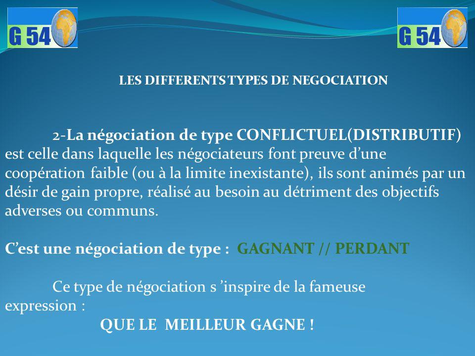 2-La négociation de type CONFLICTUEL(DISTRIBUTIF) est celle dans laquelle les négociateurs font preuve d'une coopération faible (ou à la limite inexis