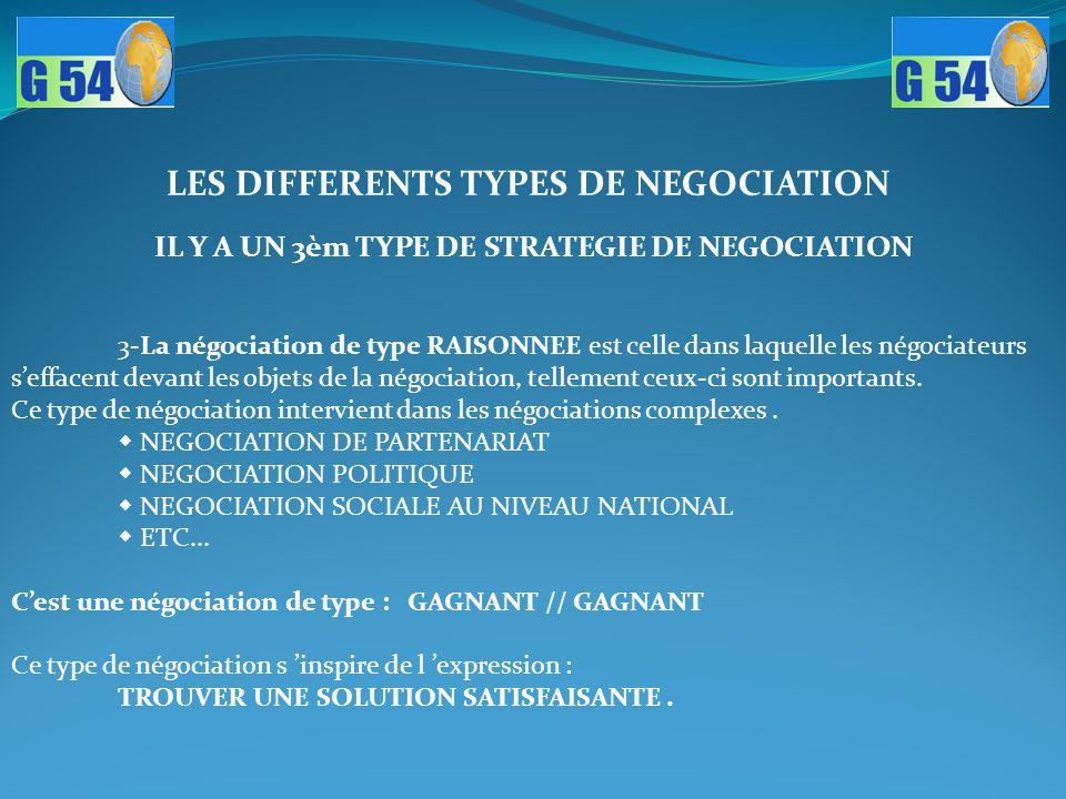 IL Y A UN 3èm TYPE DE STRATEGIE DE NEGOCIATION 3-La négociation de type RAISONNEE est celle dans laquelle les négociateurs s'effacent devant les objet