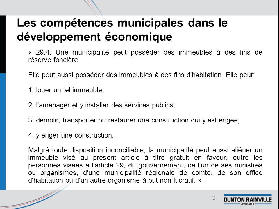Les compétences municipales dans le développement économique « 29.4.