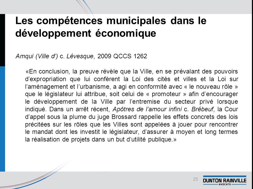 Les compétences municipales dans le développement économique Amqui (Ville d') c.