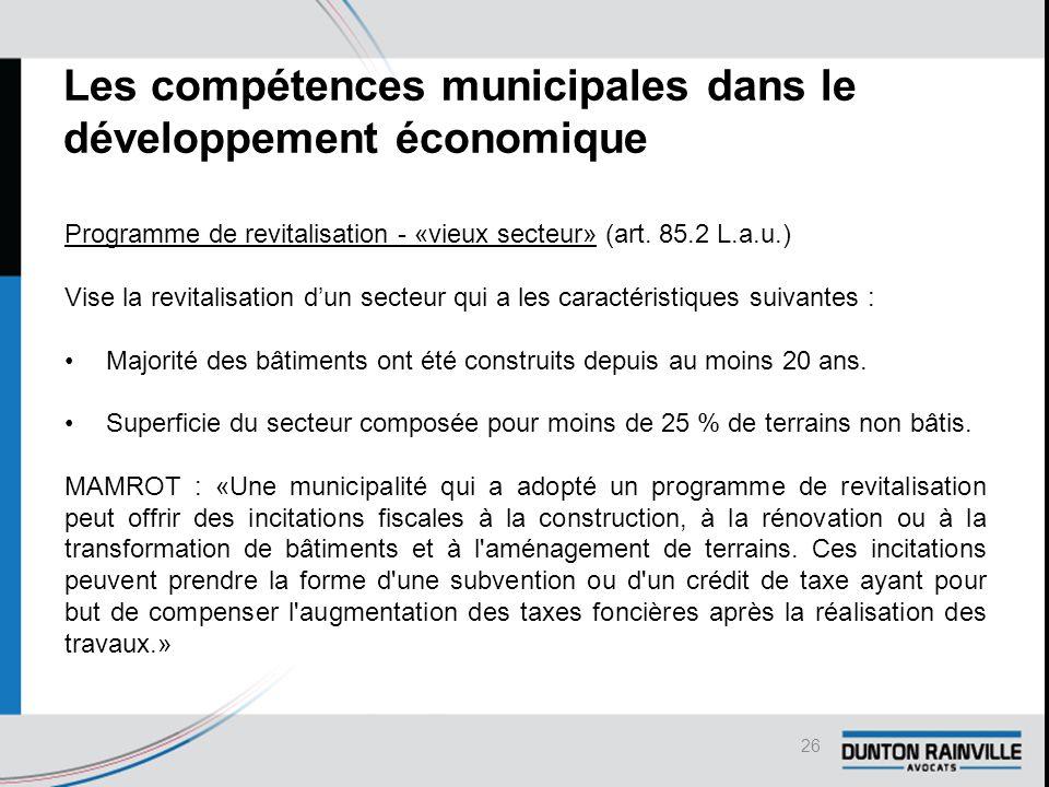 Les compétences municipales dans le développement économique Programme de revitalisation - «vieux secteur» (art.