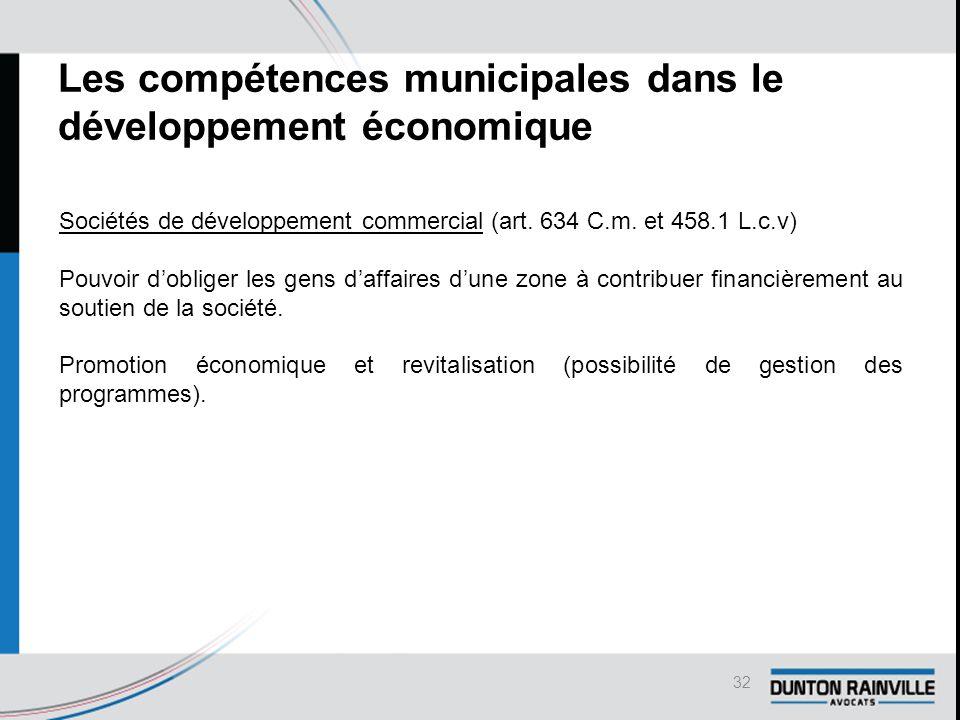 Les compétences municipales dans le développement économique Sociétés de développement commercial (art.