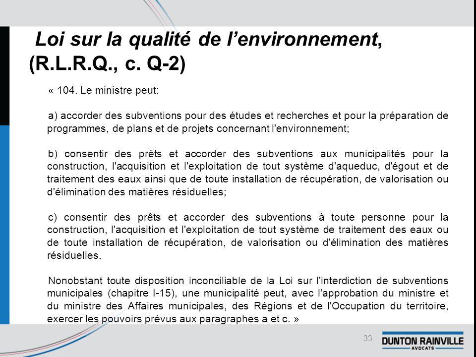 Loi sur la qualité de l'environnement, (R.L.R.Q., c.