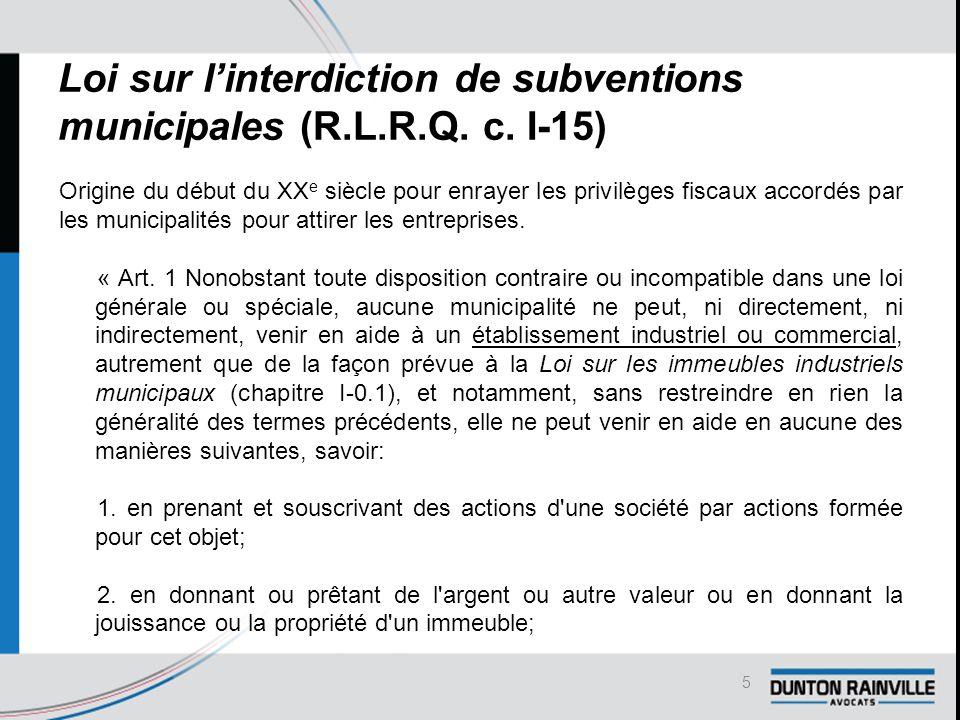 Loi sur l'interdiction de subventions municipales (R.L.R.Q.
