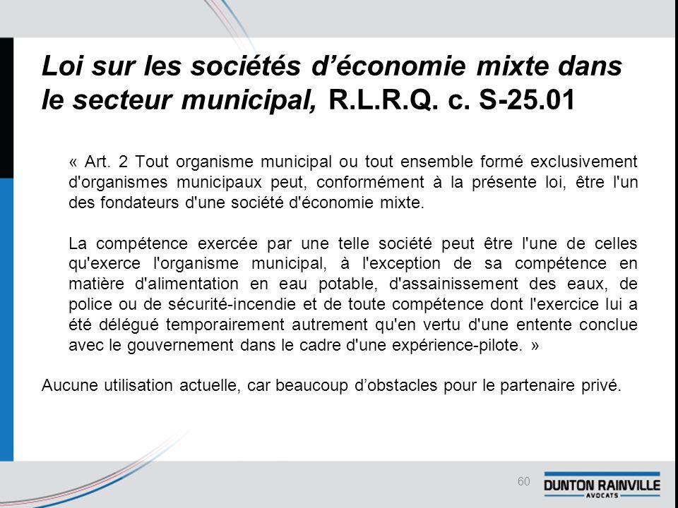 Loi sur les sociétés d'économie mixte dans le secteur municipal, R.L.R.Q.
