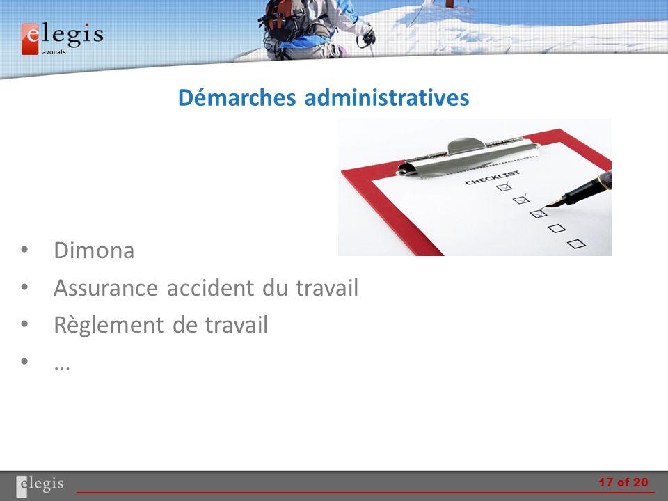 avocats Démarches administratives Dimona Assurance accident du travail Règlement de travail … 17 of 20