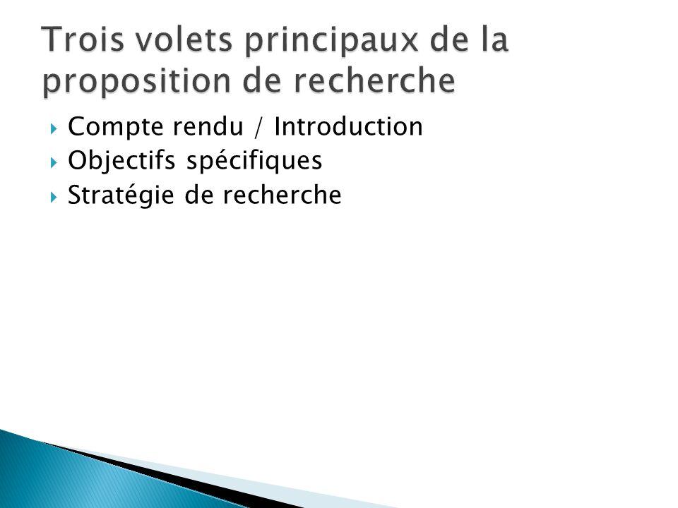  Compte rendu / Introduction  Objectifs spécifiques  Stratégie de recherche