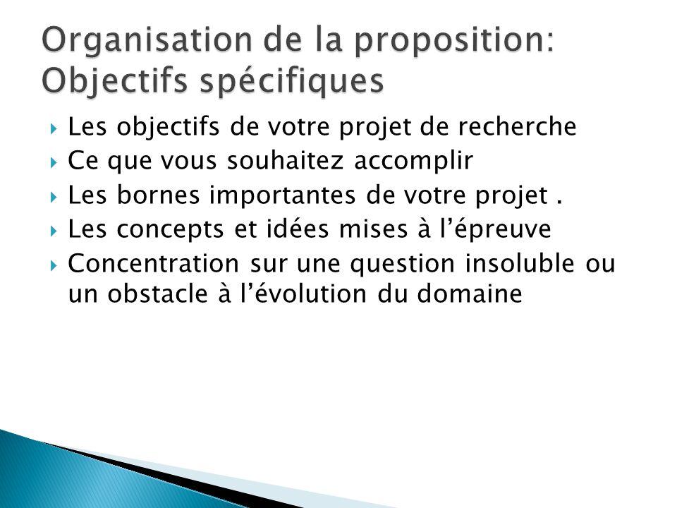  Les objectifs de votre projet de recherche  Ce que vous souhaitez accomplir  Les bornes importantes de votre projet.