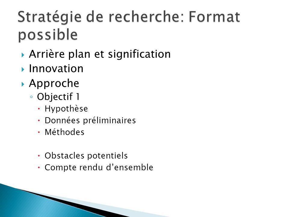  Arrière plan et signification  Innovation  Approche ◦ Objectif 1  Hypothèse  Données préliminaires  Méthodes  Obstacles potentiels  Compte rendu d'ensemble