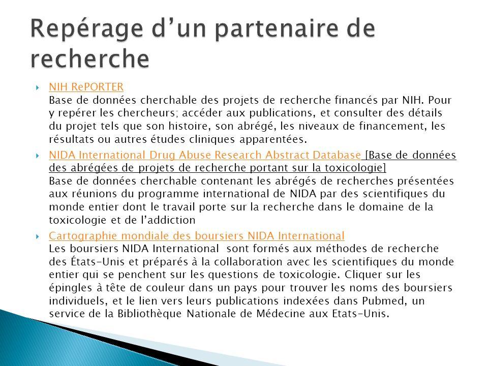  NIH RePORTER Base de données cherchable des projets de recherche financés par NIH.