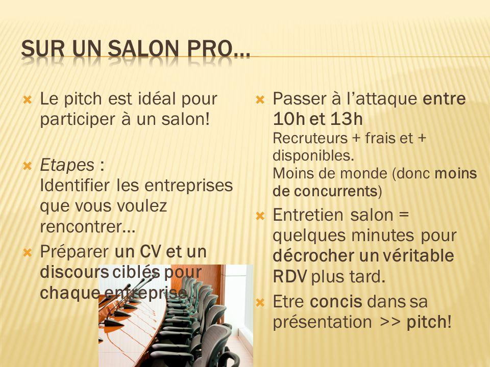  Le pitch est idéal pour participer à un salon!  Etapes : Identifier les entreprises que vous voulez rencontrer…  Préparer un CV et un discours cib