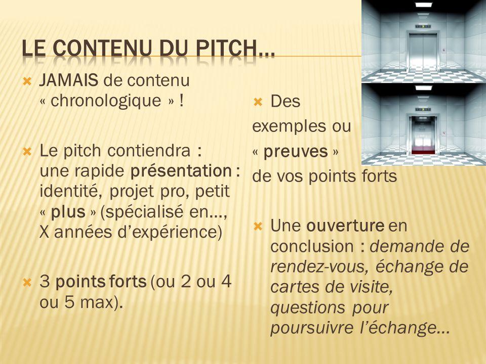  JAMAIS de contenu « chronologique » !  Le pitch contiendra : une rapide présentation : identité, projet pro, petit « plus » (spécialisé en…, X anné