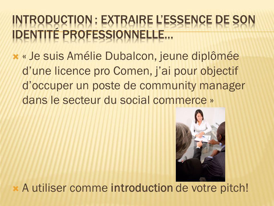  « Je suis Amélie Dubalcon, jeune diplômée d'une licence pro Comen, j'ai pour objectif d'occuper un poste de community manager dans le secteur du social commerce »  A utiliser comme introduction de votre pitch!