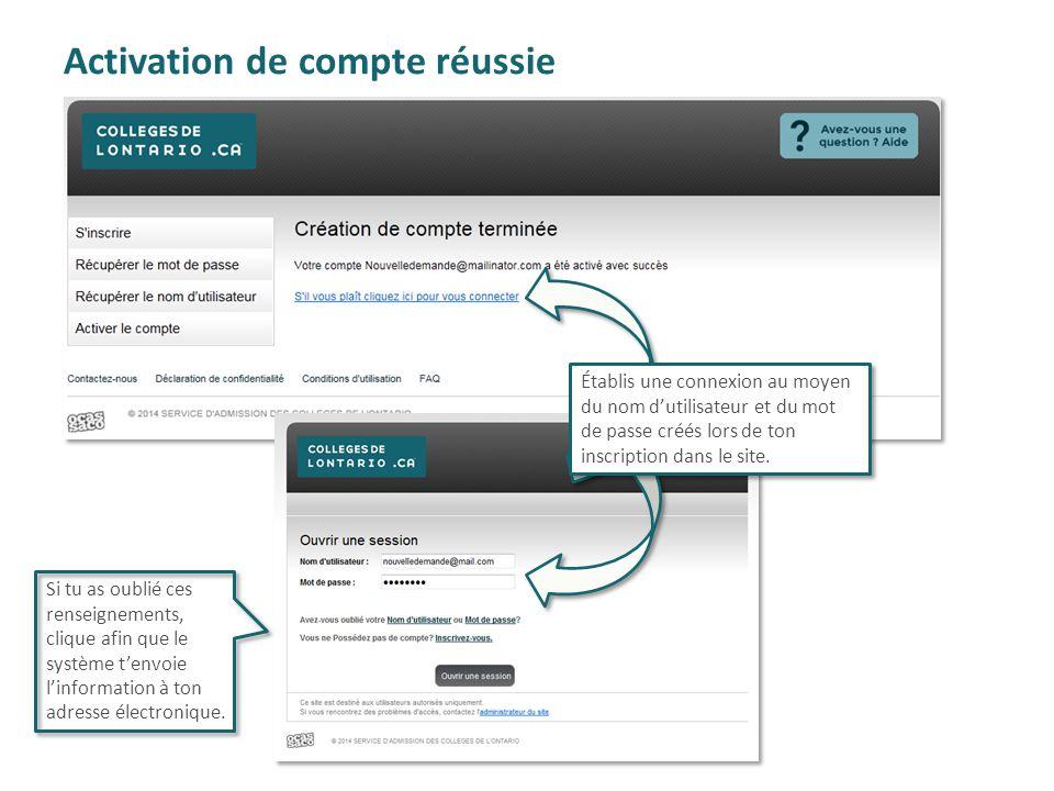 Activation de compte réussie Établis une connexion au moyen du nom d'utilisateur et du mot de passe créés lors de ton inscription dans le site. Si tu