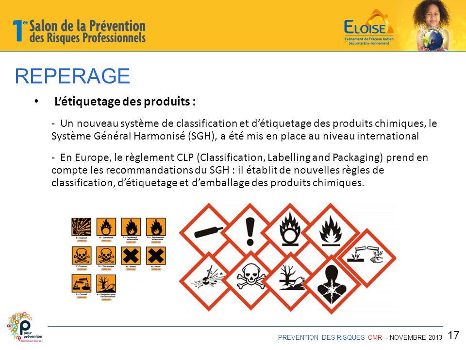 REPERAGE PREVENTION DES RISQUES CMR – NOVEMBRE 2013 17 L'étiquetage des produits : - Un nouveau système de classification et d'étiquetage des produits chimiques, le Système Général Harmonisé (SGH), a été mis en place au niveau international - En Europe, le règlement CLP (Classification, Labelling and Packaging) prend en compte les recommandations du SGH : il établit de nouvelles règles de classification, d'étiquetage et d'emballage des produits chimiques.