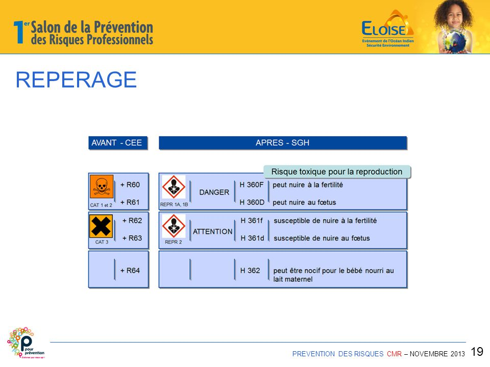 REPERAGE PREVENTION DES RISQUES CMR – NOVEMBRE 2013 19