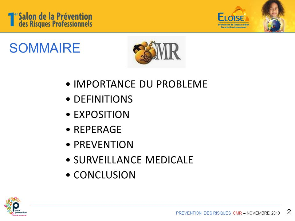 SOMMAIRE PREVENTION DES RISQUES CMR – NOVEMBRE 2013 2 IMPORTANCE DU PROBLEME DEFINITIONS EXPOSITION REPERAGE PREVENTION SURVEILLANCE MEDICALE CONCLUSI
