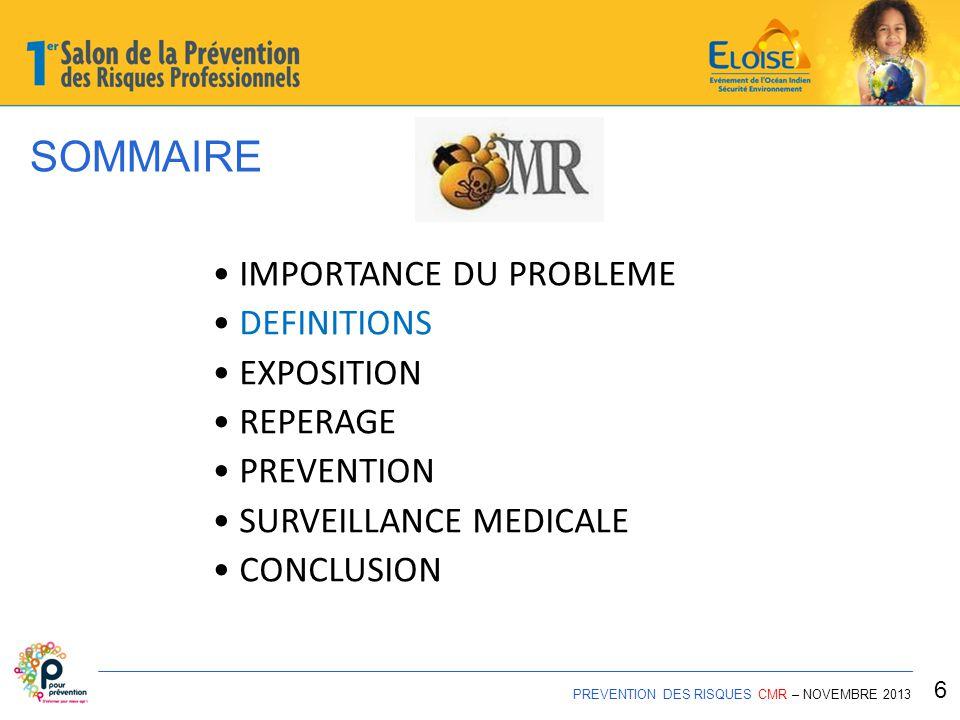 SOMMAIRE PREVENTION DES RISQUES CMR – NOVEMBRE 2013 27 IMPORTANCE DU PROBLEME DEFINITIONS EXPOSITION REPERAGE PREVENTION SURVEILLANCE MEDICALE CONCLUSION