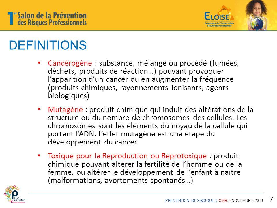 DEFINITIONS PREVENTION DES RISQUES CMR – NOVEMBRE 2013 8 Classification Européenne : - CATEGORIE 1A ou 1B (avéré ou forte présomption) - CATEGORIE 2 (suspectés) Classification internationale (CIRC) - GROUPE 1 : cancérogène pour l'homme - GROUPE 2A : cancérogène probable - GROUPE 2B : cancérogène possible - GROUPE 3 : ne peut être classé - GROUPE 4 : probablement non cancérogène