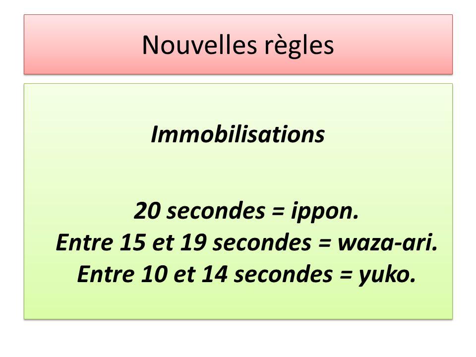 Nouvelles règles Immobilisations 20 secondes = ippon. Entre 15 et 19 secondes = waza-ari. Entre 10 et 14 secondes = yuko. Immobilisations 20 secondes