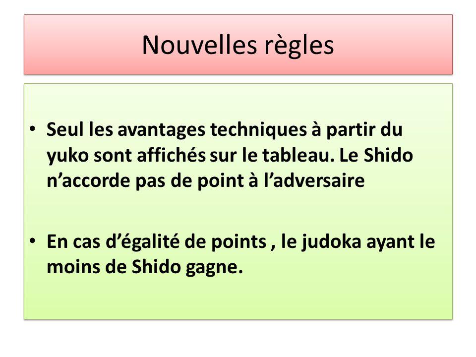 Nouvelles règles Seul les avantages techniques à partir du yuko sont affichés sur le tableau. Le Shido n'accorde pas de point à l'adversaire En cas d'