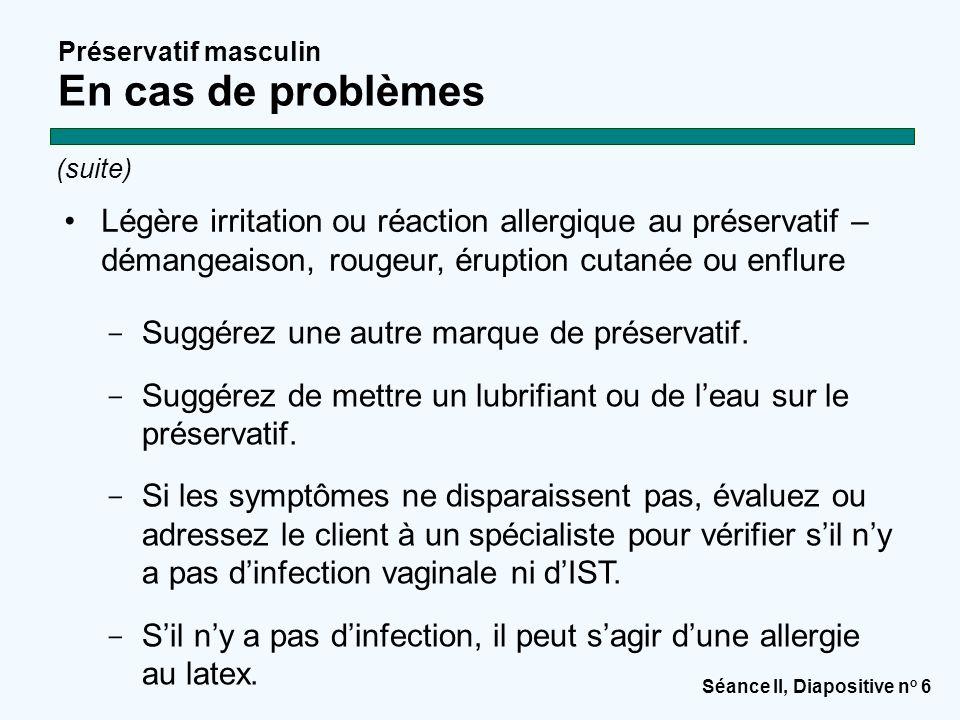 Séance II, Diapositive n o 6 Préservatif masculin En cas de problèmes (suite)  Suggérez une autre marque de préservatif.  Suggérez de mettre un lubr