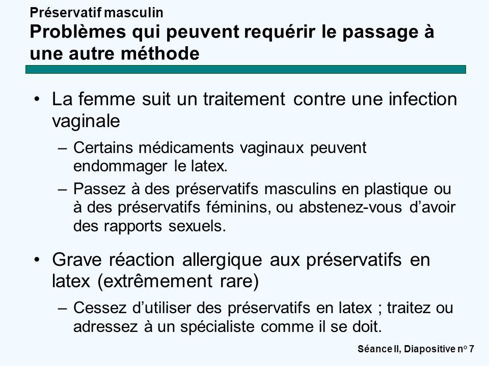 Séance II, Diapositive n o 7 Préservatif masculin Problèmes qui peuvent requérir le passage à une autre méthode La femme suit un traitement contre une