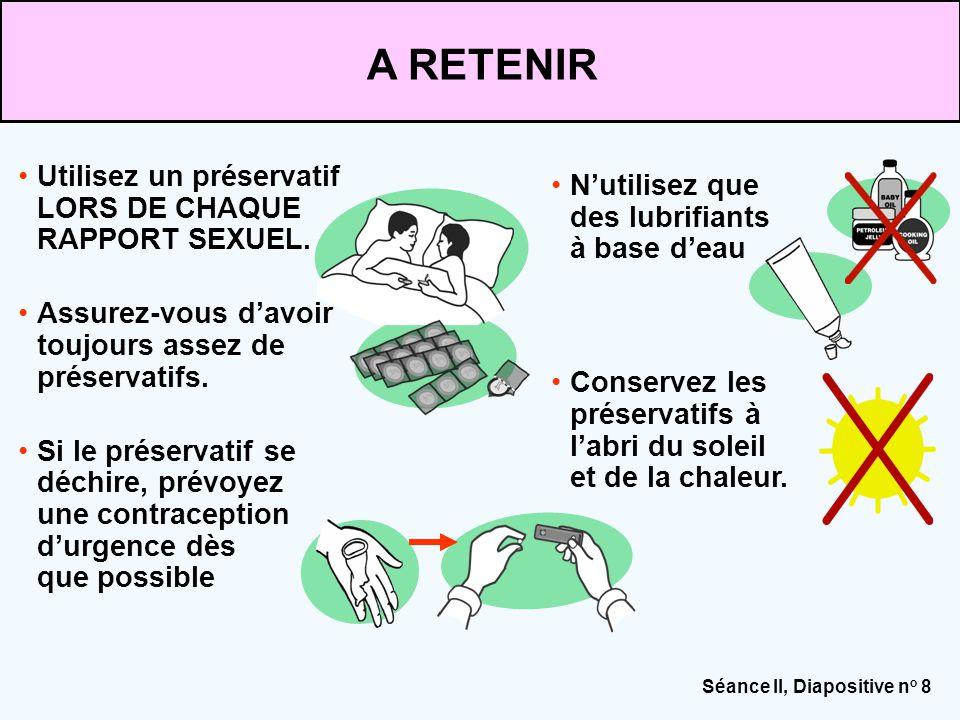 Séance II, Diapositive n o 8 Utilisez un préservatif LORS DE CHAQUE RAPPORT SEXUEL. Assurez-vous d'avoir toujours assez de préservatifs. Si le préserv