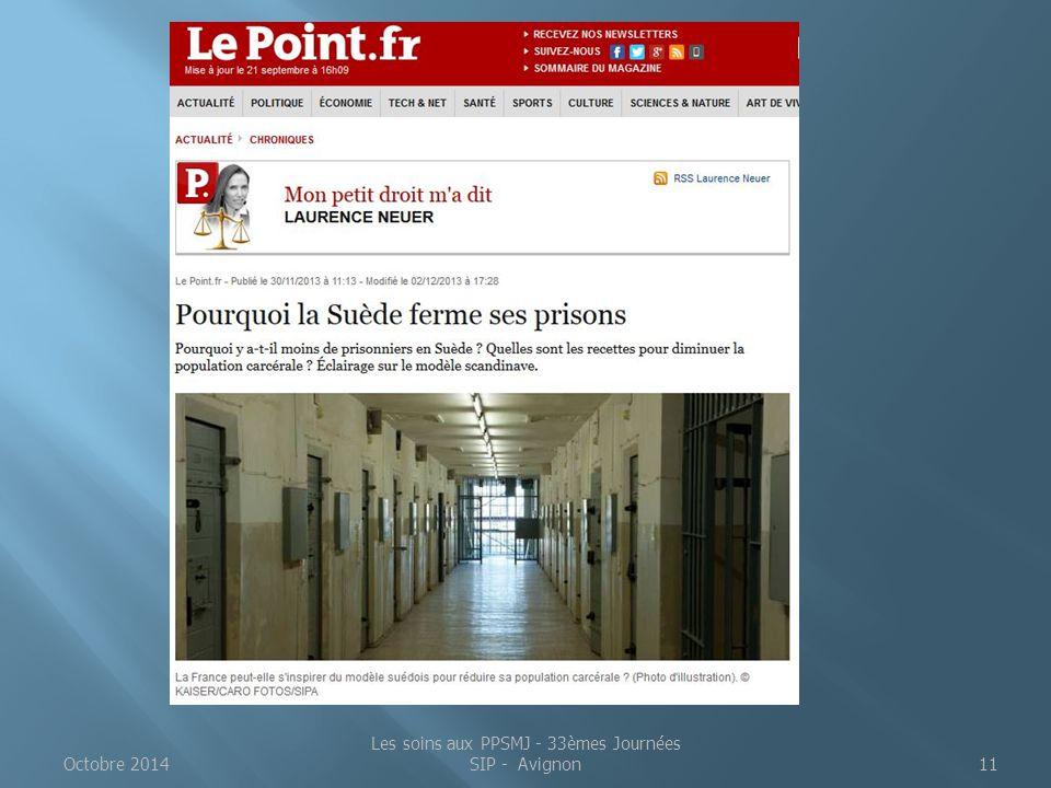 Octobre 2014 Les soins aux PPSMJ - 33èmes Journées SIP - Avignon11
