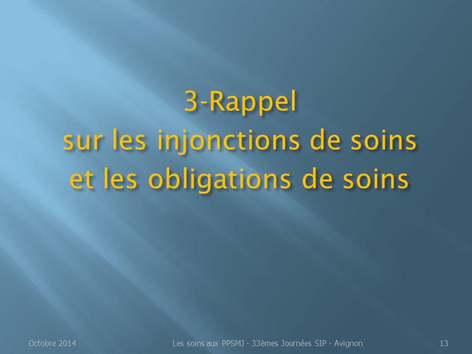 3-Rappel sur les injonctions de soins et les obligations de soins Octobre 2014Les soins aux PPSMJ - 33èmes Journées SIP - Avignon13