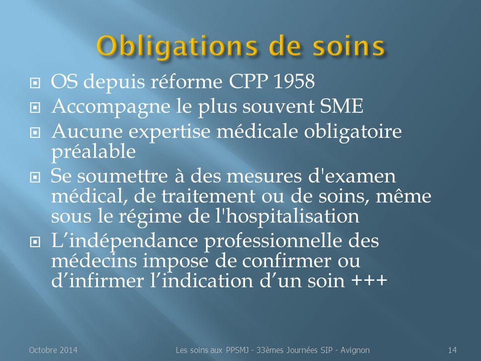  OS depuis réforme CPP 1958  Accompagne le plus souvent SME  Aucune expertise médicale obligatoire préalable  Se soumettre à des mesures d'examen