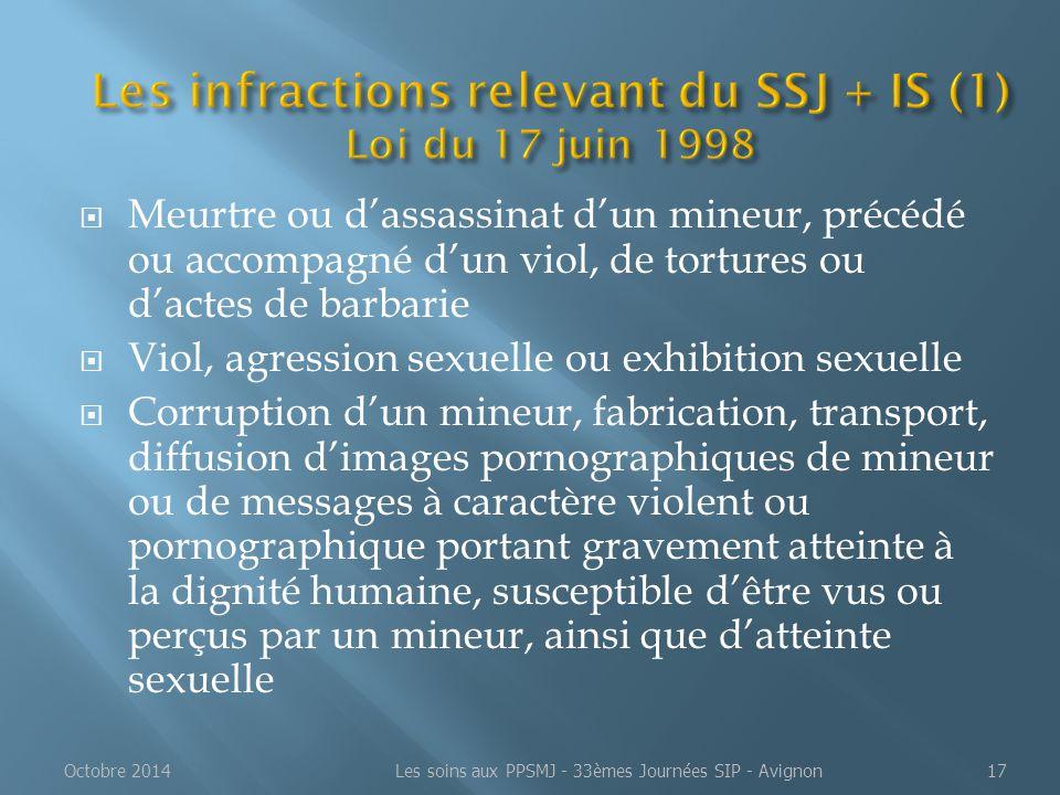  Meurtre ou d'assassinat d'un mineur, précédé ou accompagné d'un viol, de tortures ou d'actes de barbarie  Viol, agression sexuelle ou exhibition se