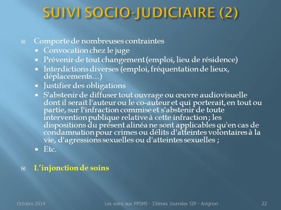  Comporte de nombreuses contraintes  Convocation chez le juge  Prévenir de tout changement (emploi, lieu de résidence)  Interdictions diverses (em