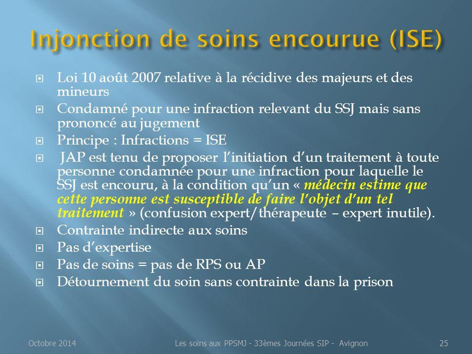  Loi 10 août 2007 relative à la récidive des majeurs et des mineurs  Condamné pour une infraction relevant du SSJ mais sans prononcé au jugement  P