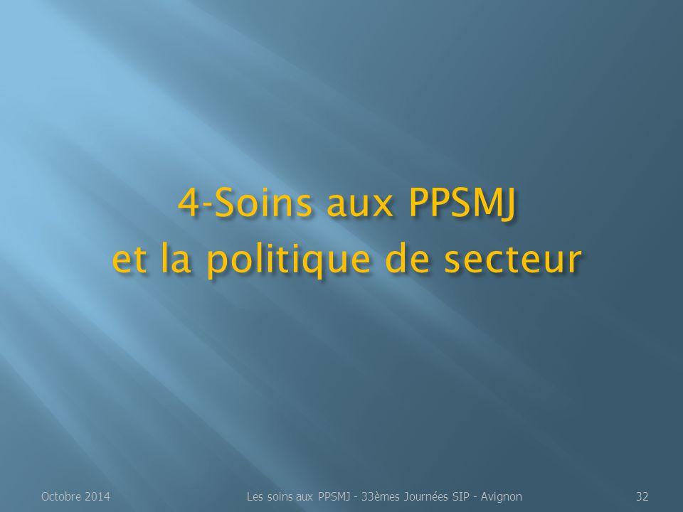 4-Soins aux PPSMJ et la politique de secteur Octobre 2014Les soins aux PPSMJ - 33èmes Journées SIP - Avignon32