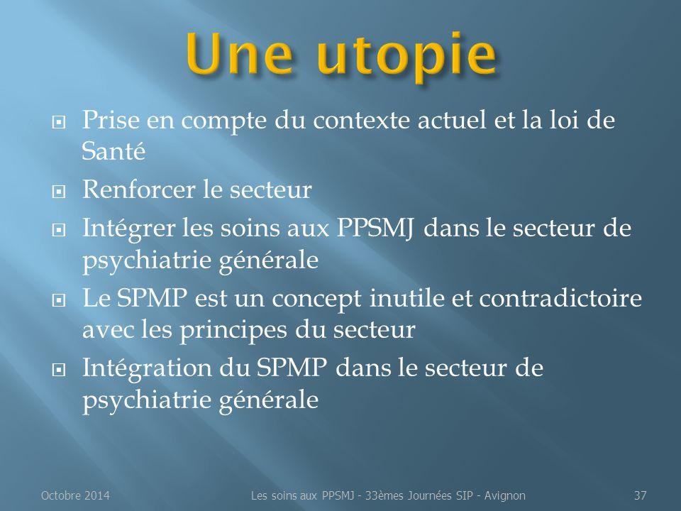  Prise en compte du contexte actuel et la loi de Santé  Renforcer le secteur  Intégrer les soins aux PPSMJ dans le secteur de psychiatrie générale