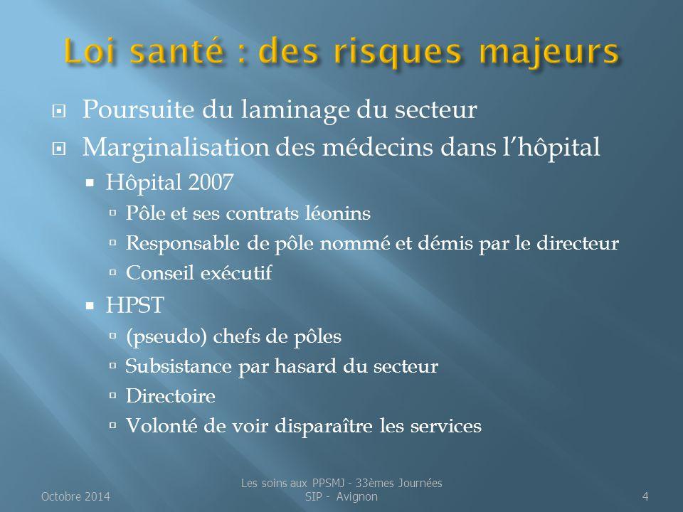 Un soin mais aussi :  Une peine principale ou complémentaire  Une mesure de sûreté Octobre 2014Les soins aux PPSMJ - 33èmes Journées SIP - Avignon15
