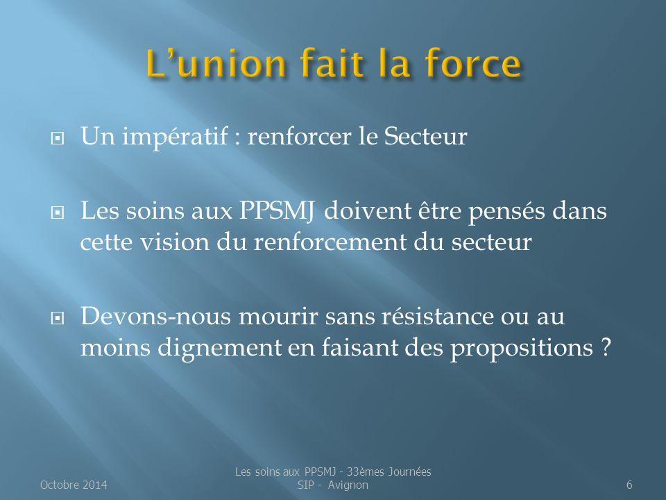 2 - La réforme pénale Loi n°2014-896 du 15 août 2014 relative à l'individualisation des peines et renforçant l'efficacité des sanctions pénales Octobre 2014Les soins aux PPSMJ - 33èmes Journées SIP - Avignon7