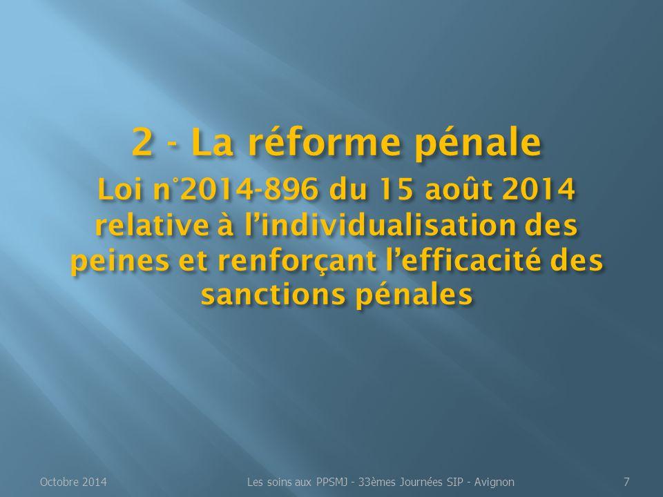 2 - La réforme pénale Loi n°2014-896 du 15 août 2014 relative à l'individualisation des peines et renforçant l'efficacité des sanctions pénales Octobr