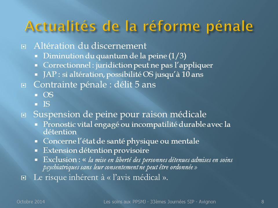  Altération du discernement  Diminution du quantum de la peine (1/3)  Correctionnel : juridiction peut ne pas l'appliquer  JAP : si altération, po