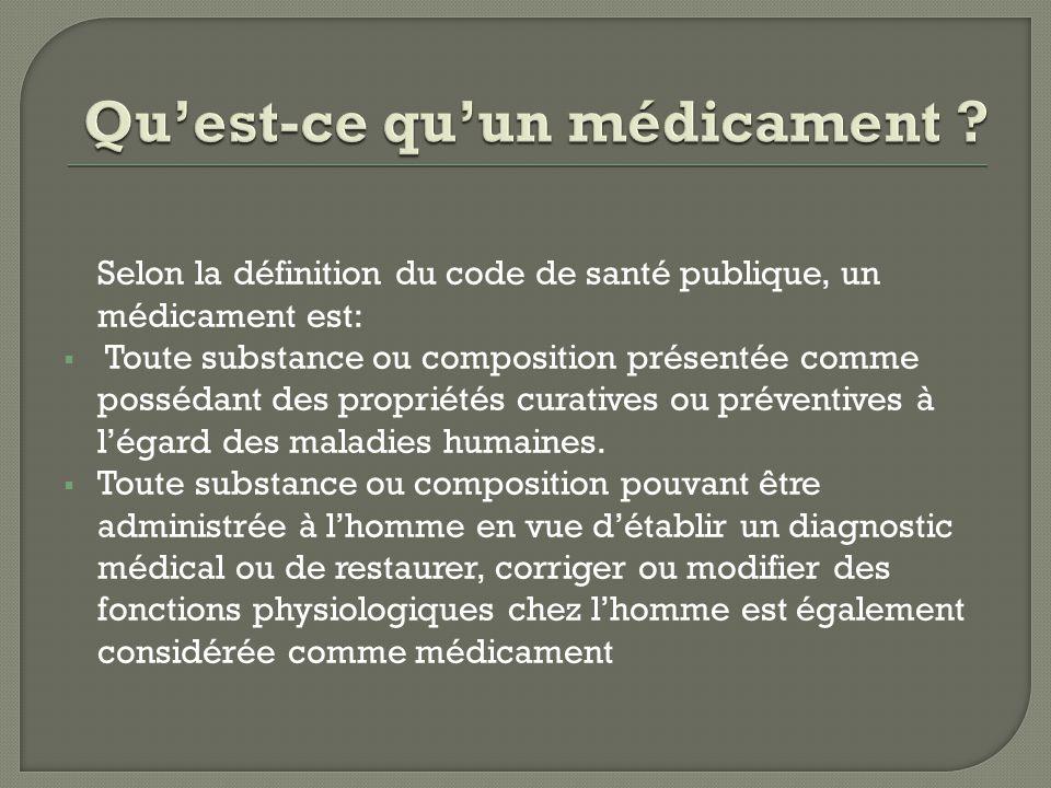 Selon la définition du code de santé publique, un médicament est:  Toute substance ou composition présentée comme possédant des propriétés curatives