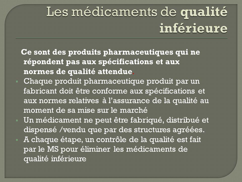 Ce sont des produits pharmaceutiques qui ne répondent pas aux spécifications et aux normes de qualité attendue.  Chaque produit pharmaceutique produi