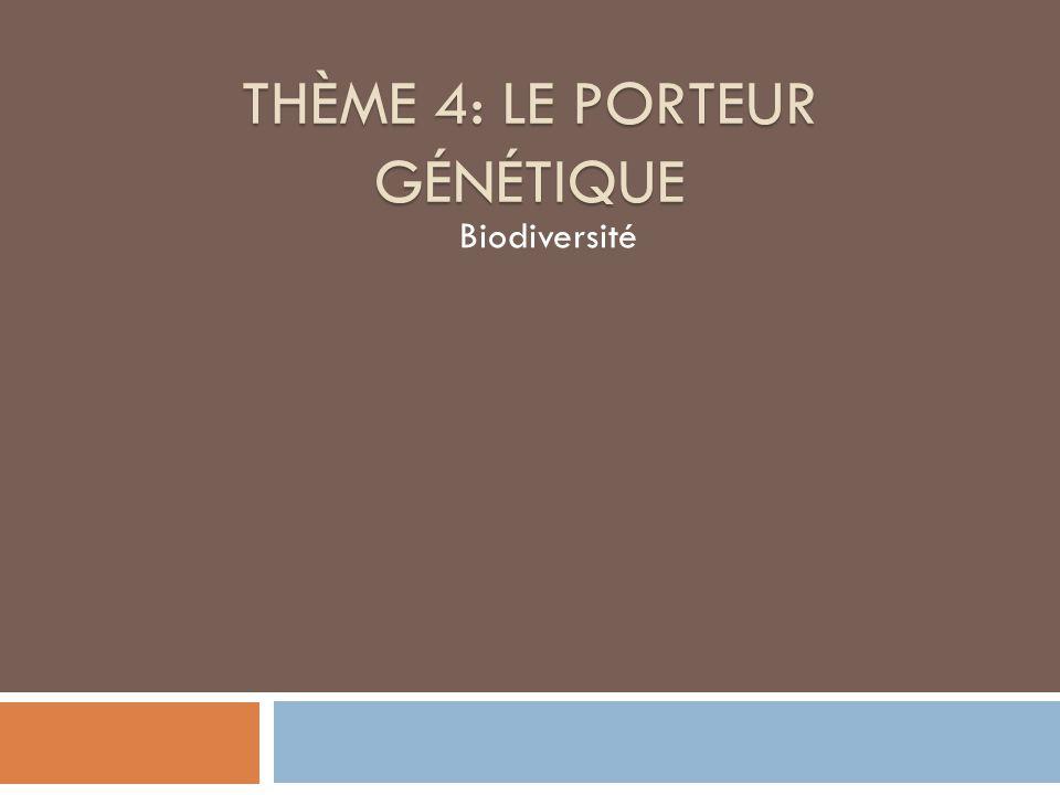 THÈME 4: LE PORTEUR GÉNÉTIQUE Biodiversité